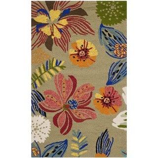 Safavieh Hand-Hooked Four Seasons Light Olive/ Green Polyester Rug (2'4 x 4')