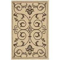 Safavieh Courtyard Scrollwork Natural/ Chocolate Indoor/ Outdoor Rug - 1'8 x 2'8