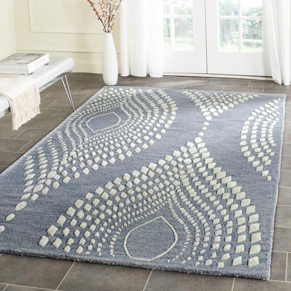 Safavieh Handmade Bella Blue/ Ivory Wool Rug (6' x 9')