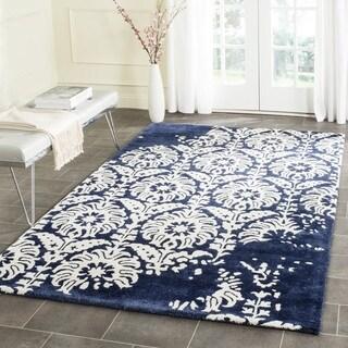Safavieh Handmade Bella Navy/ Ivory Wool Rug (5' Square)