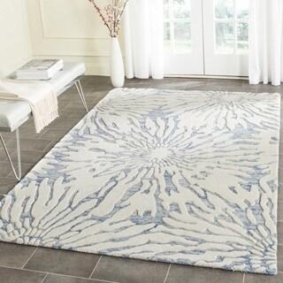 Safavieh Handmade Bella Dark Blue/ Ivory Wool Rug (5' Square)