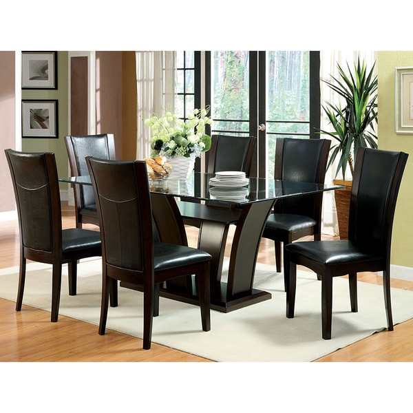 furniture of america marion contemporary 7 piece glass top awesome formal dining room sets as part of home furniture
