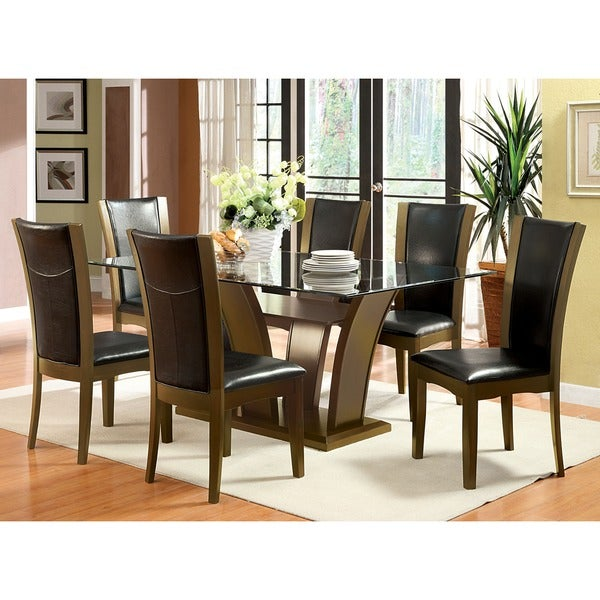 Merveilleux Furniture Of America Marion Contemporary 7 Piece Glass Top Dining Set