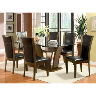 Furniture Of America Marion Contemporary 7 Piece Glass Top Dining Set