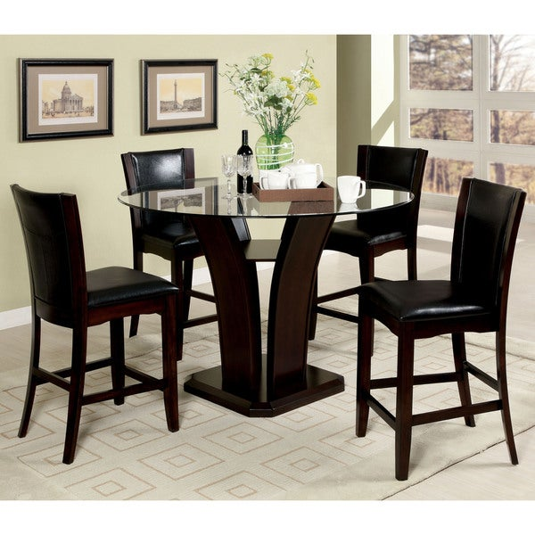 carlise ii contemporary 5 piece round counter height glass dining set