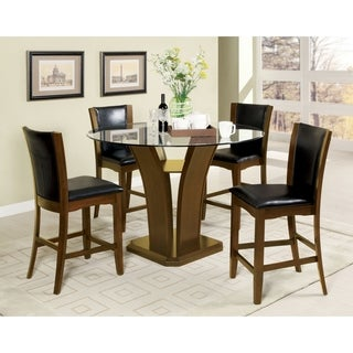 Furniture of America Carlise II Contemporary 5-piece Round Counter Height Glass Dining Set