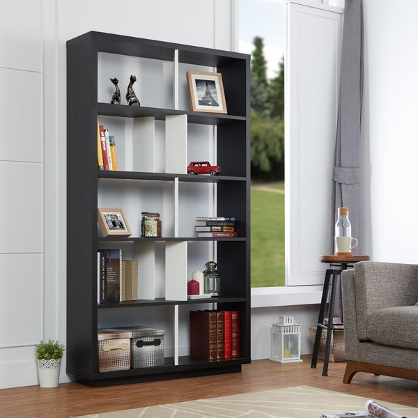 Furniture Of America Balto Modern Black And White Open Bookshelf Room Divider
