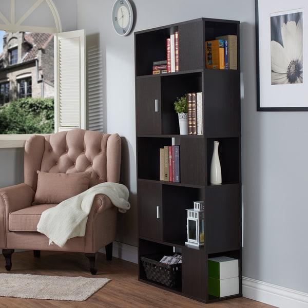 furniture of america kallio contemporary espresso open bookshelf