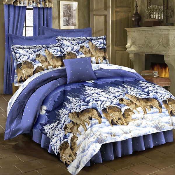 shop midnight wolves 4 piece comforter set free shipping today 10958405. Black Bedroom Furniture Sets. Home Design Ideas