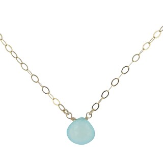 Handmade Aqua Blue Chalcedony Gold-Filled Handmade Necklace With 18 Inch Chain By Ashanti (Sri Lanka)