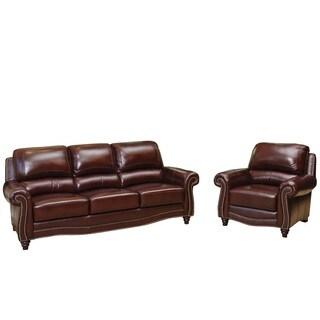 Abbyson Living Barkley Burgundy Top-Grain Leather Sofa and Armchair