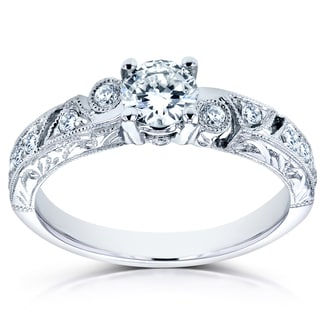 Annello by Kobelli 14k White Gold 3/5ct TDW Diamond Filigree Milgrain Engagement Ring