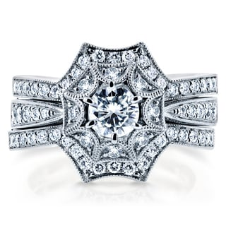 Annello by Kobelli 14k White Gold 1ct TDW Diamond 3-Piece Starry Bridal Rings Set