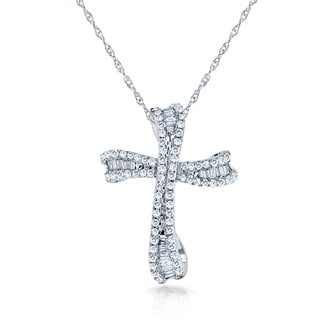Annello 10k White Gold 1/3ct TDW Diamond Cross Necklace (H-I, I2)