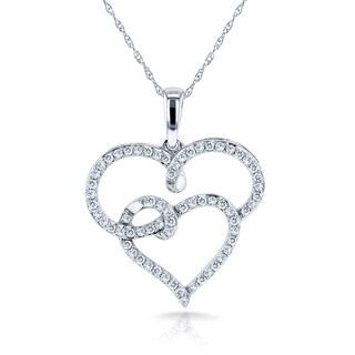 Annello by Kobelli 10k White Gold 1/3ct TDW Diamond Interlocking Hearts Pendant Necklace