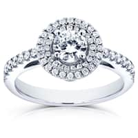 Annello by Kobelli 14k White Gold 3/4ct TDW Diamond Double Halo Engagement Ring