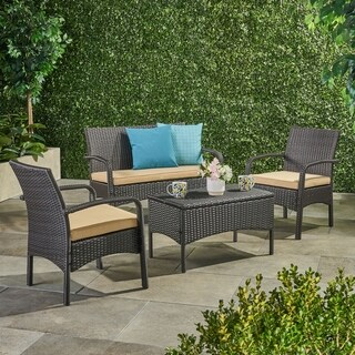 Link to Cordoba Outdoor Wicker 4-piece Conversation Set with Cushions by Christopher Knight Home Similar Items in Patio Sets