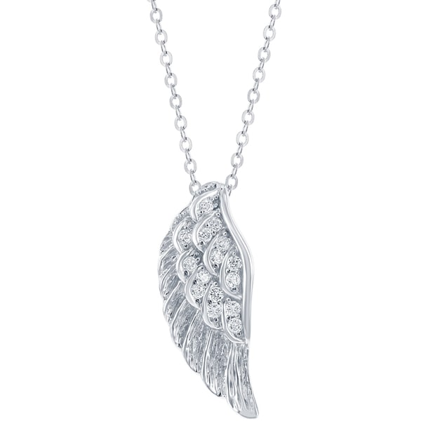 Cubic Zirconia Angel Wing Stainless Steel Pendant Necklace