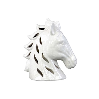 Crackle Gloss White Horse Head with Cutout Design
