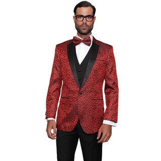 Link to Statement Men's Wool Bellagio Red 3-piece Tuxedo Suit Similar Items in Suits & Suit Separates