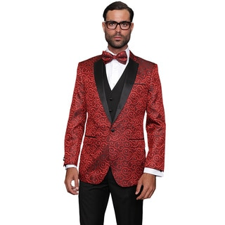 Statement Men's Wool Bellagio Red 3-piece Tuxedo Suit