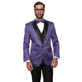 Men's Wool Bellagio Purple 3-piece Tuxedo Suit