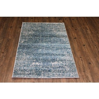 Off-white Navy Turquoise Indoor Area Rug - 5'3 x 7'5