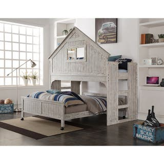 Donco Kids Brushed Driftwood Finish Club House Low Loft with Full-Size Caster Bed|https://ak1.ostkcdn.com/images/products/10958798/P17983946.jpg?impolicy=medium