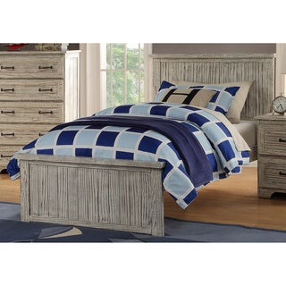 Panel Bed with Distressed Driftwood Finish