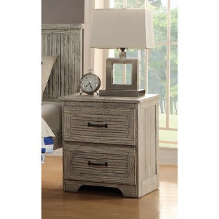 2 Drawer Night Stand with Distressed Driftwood Finish