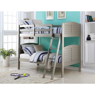 Twin over Twin Shutter Platinum Silver Finished Bunk Bed