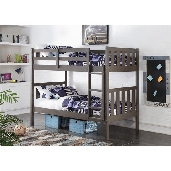 Twin over Twin Wide Mission Slate Grey Bunk Bed Free