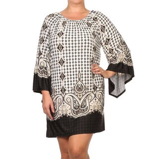 MOA Collection Women's Plus Size Multi-Pattern Dress