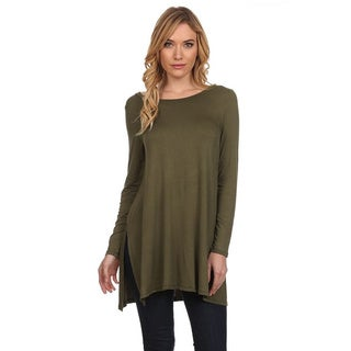 MOA Collection Women's Solid Long Sleeve Tunic Top
