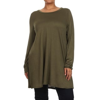 MOA Collection Women's Plus Size Solid Tunic Top