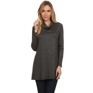 MOA Collection Women's Solid Long Sleeve Cowl Neck Top