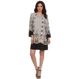 MOA Collection Women's Multi-Pattern Loose Fit Dress