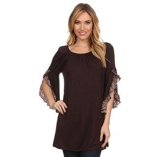 MOA Collection Women's Flutter Sleeves Top