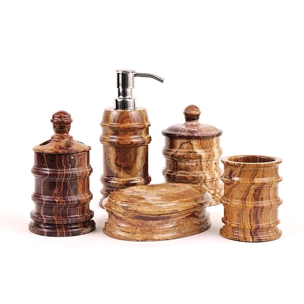Nature Home Decor Bengal Collection Multi Brown Onyx 5-Piece Bathroom Accessory Set