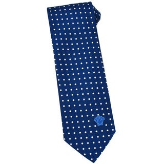 Versace 100-percent Italian Silk Blue Polka Dot 3-inch Wide Neck Tie