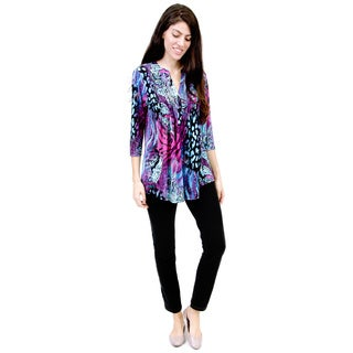 La Cera Women's Pleated Front Abstract Animal Print Tunic