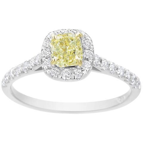 SummerRose 14k White Gold 1ct TDW Fancy Yellow Diamond Halo Ring (Fancy Intense Yellow)
