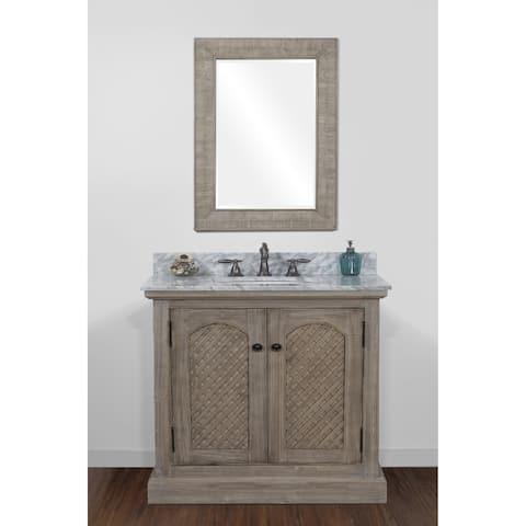 Rustic Style 36-inch Natural Stone Top Single Sink Bathroom Vanity