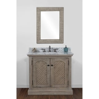 Rustic Style 36-inch Natural Stone Top Single Sink Bathroom Vanity