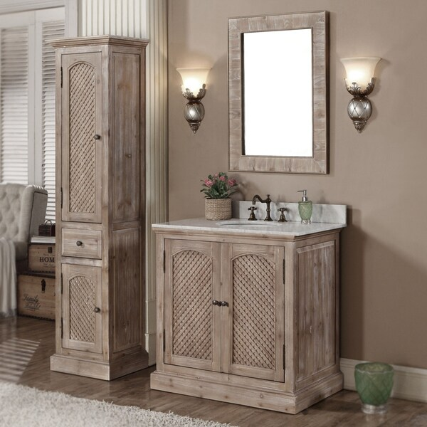 . Shop Rustic Style 36 inch Natural Stone Top Single Sink Bathroom