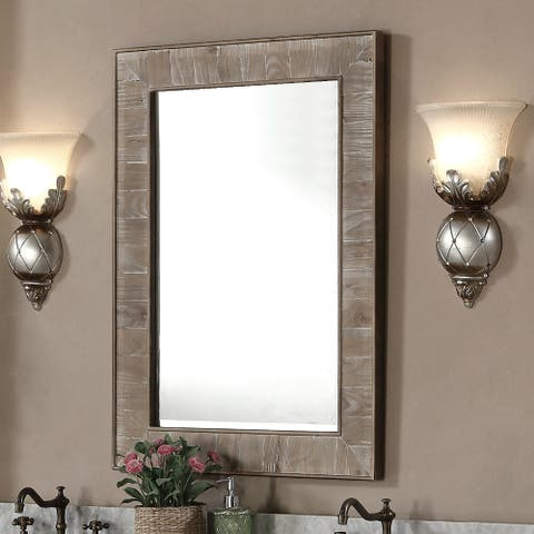 Rustic Style 26-inch wide Rectangular Wall Mirror - Brown - A/N