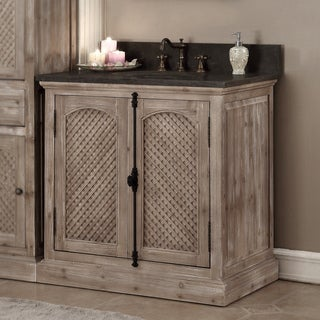 Rustic Style 36-inch Limestone Top Single Sink Bathroom Vanity