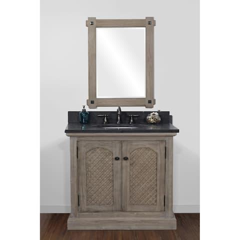 Rustic Style 36-inch Limestone Top Single Sink Bathroom Vanity