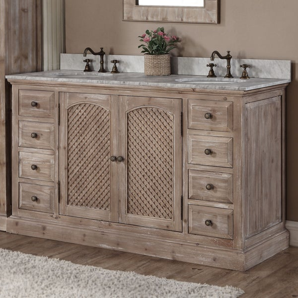 Shop Rustic Style 60-inch Double Sink Bathroom Vanity ...