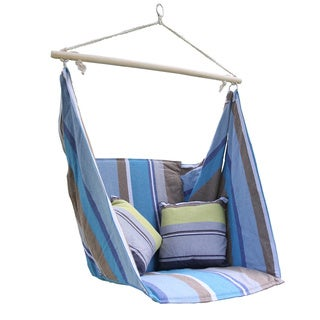 Adeco Blue Cotton Fabric Hanging Chair with Pillow